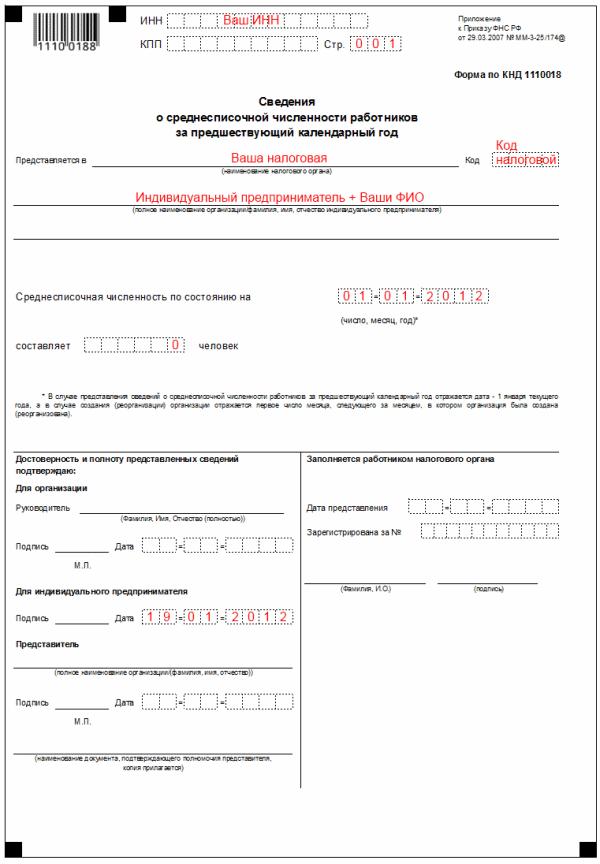 Пример заполнения Сведений о среднесписочной численности