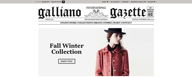 john galliano официальный сайт