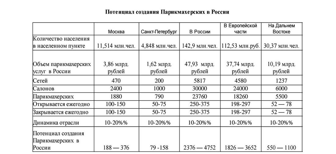 Потенциал создания парикмахерских в России