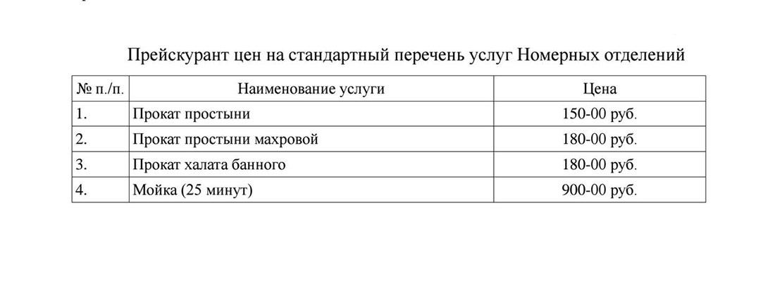 Прейскурант цен услуг номерных отделений в России