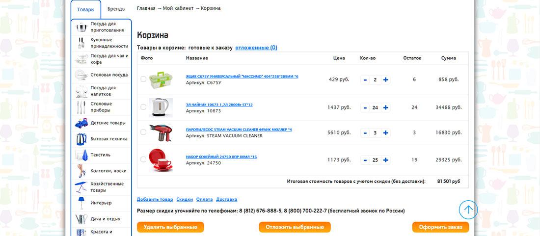 Покупка посуды в Интернет
